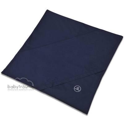 """Bettwäsche """"Plümo"""" mit Hotelverschluss, z.B. für Kinderwagen-Plümo, 100% Baumwolle (kbA), eine Seite farbig zum Wenden, Größe 80x80 cm², dunkelblau"""