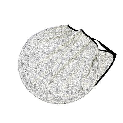 "Sonnensegel ""Flowers"", halbkreisförmig, weiß bedruckt"