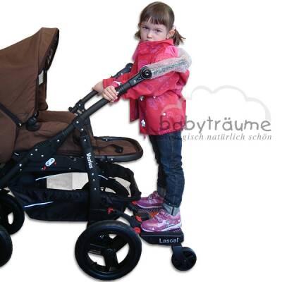 Mitfahrbrett/Board mit Sitz für Naturkind-Kinderwagen, schwarz
